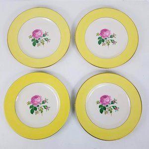 "Pickard Ravenswood China 9.5"" Plate x4 Pink Rose"